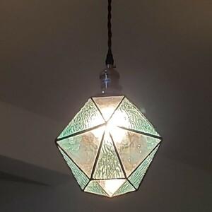 ブルー ガラス ステンドグラス ペンダントライト LED対応 E26 天井照明 北欧 昭和 レトロ 喫茶店 食卓 玄関 洗面所