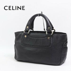 ◆CELINE/セリーヌ ブギー レザー トート ハンド バッグ ブラック