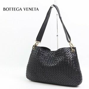 ◆BOTTEGA VENETA/ボッテガヴェネタ イントレチャート レザー 肩掛け ワンショルダー バッグ ブラック