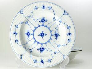 ロイヤルコペンハーゲン プレート■ブルーフルーテッド プレインレース スーププレート ボウル 深皿 3枚セット