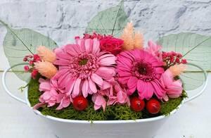 ★新作!プリザーブドフラワー オーバルブリキアレンジ ガーベラ ピンク 誕生日祝 新築祝 開店祝 結婚祝 出産祝 母の日に  ★