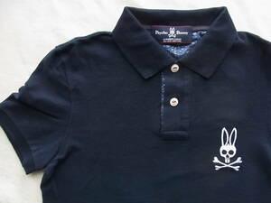Psycho Bunny サイコバニー コットン鹿の子素材 ポロシャツ サイズ 2 ネイビー 日本製
