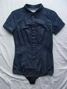 DIESEL ディーゼル 綿麻ライトオンスデニム素材 ボディシャツ サイズXS 濃色のインディゴブルー