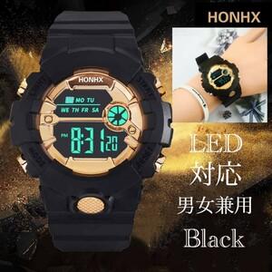 スポーツ腕時計 LED デジタル 腕時計 時計 ミリタリー 自転車 スポーツ アウトドア キャンプ 男女兼用 ランニング ブラック 21