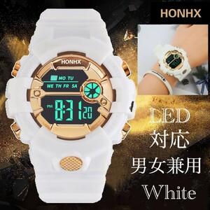 スポーツ腕時計 LED デジタル 腕時計 時計 ミリタリー 自転車 スポーツ アウトドア キャンプ 男女兼用 ランニング ホワイト 21