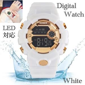 スポーツ腕時計 LED デジタル 腕時計 時計 ミリタリー 自転車 スポーツ アウトドア キャンプ 男女兼用 ランニング ホワイト 22