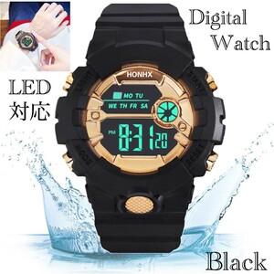 スポーツ腕時計 LED デジタル 腕時計 時計 ミリタリー 自転車 スポーツ アウトドア キャンプ 男女兼用 ランニング ブラック 22