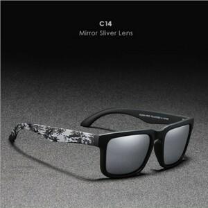 KDEAM 新品シルバー ミラーレンズ UV400カジュアル スポーツサングラス