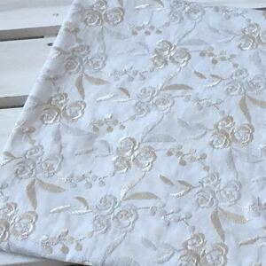 薔薇刺繍 コットンレース生地 刺繍レース 綿レース 刺繍生地 ハギレ