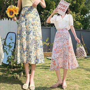 スカート レディース 春夏 マキシスカート 花柄 スカート ロング丈 春夏 スカート 花柄 スカート シフォン レディース ロング