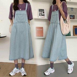 デニム サロペットスカート 40代 春秋 デニム サロペットスカート 大きいサイズ ゆったり 綿 ワンピース Aライン 春秋 ロングワンピ