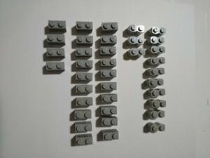 A194  旧灰 灰色 グレー 波ブロック 溝ブロック 1×2 大量 約37個 レゴパーツ LEGO