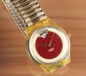 swatch オートマチック 裏スケルトン 赤×金 管理21350ニ