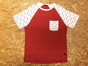 エドハーディー Ed Hardy ロゴプリント アメカジ タトゥー ラグラン 半袖Tシャツ メンズ 綿100% M 赤 ライトグレー