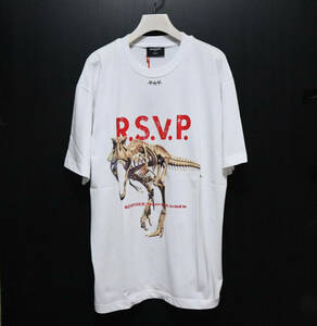 新品【REVENANT レヴナント】イタリア製 恐竜プリント クルーネック 半袖Tシャツ 白 M 大きめ