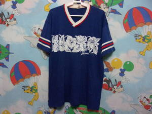 80's HAWAII Tシャツ size XL (~size L位) 80年代 USA製 Vネック ハイビスカス ハワイ OLD VINTAGE H.WOLF & SONS 古着