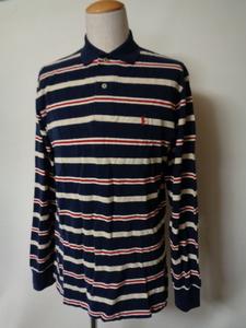 Polo by Ralph Lauren 90's USA製 ポロラルフローレン 鹿の子 ボーダー コットン ポロシャツ 長袖 (M) ポニー刺繍 90年代 アメリカ製