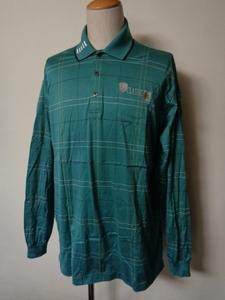MUNSING WEAR マンシングウェア CLASSIC 長袖 ポロシャツ ボーダー柄 エメラルド XL ゴルフウェア メンズ