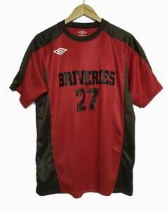 アンブロ umbro × ブリバリーズ 濃赤 レッド L ユニフォーム 日大 デサント製 #27 メンズ シャツ 日本大学 フットサル BRIVERIES サッカー