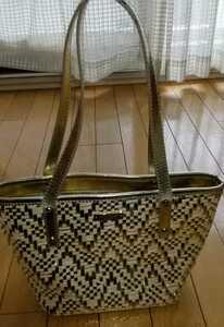 美品ケイトスペードKate Spade ショルダーバッグトートバッグ ゴールド パテントレザーxキャンバス レディース鞄ハンド
