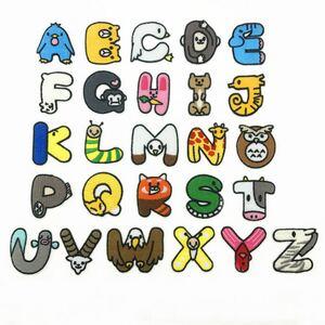 402可愛い動物たちアルファベットアイロンワッペン2枚セット
