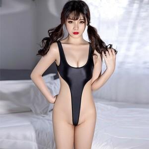 セクシー スベスベ 美胸 水着 ハイレグレオタード 体操服 伸縮性に優れ コスプレ衣装 RT369/ブラック