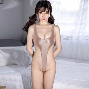 セクシー スベスベ 美胸 水着 ハイレグレオタード 体操服 伸縮性に優れ コスプレ衣装 RT369/ゴールド