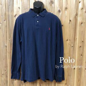 90's/Polo by Ralph Lauren ポロ ラルフローレン メンズ XXL 長袖シャツ ポロシャツ トップス 鹿の子 ポニー刺繍 USA仕入 ビンテージ古着