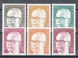 西ドイツ 1972年未使用NH 普通切手/連邦大統領/ハイネマン#727-732
