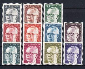西ドイツ 1970年未使用NH 普通切手/連邦大統領/ハイネマン#635-645