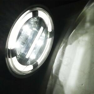 SRX250 SRX400 ルネッサ SRV250 SR400 SR500 SR600 汎用 LED/ヘッドライト/ユニット/イカリング/デイライト Assy 白