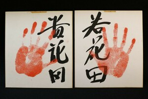 当時物 大相撲 横綱 貴花田 若花田 手形 サイン色紙 ◆ 貴乃花 若乃花 若貴