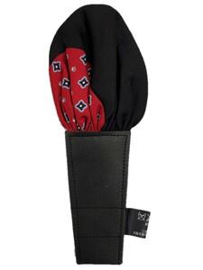 日本製 形態安定ポケットチーフ シルク100% 赤小紋×無地ブラック N70