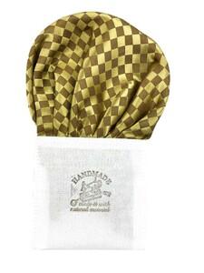 日本製 形態安定ポケットチーフ シルク100% ゴールド×ブラウン K216
