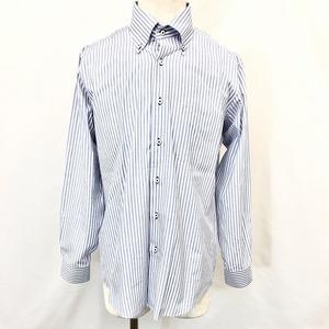 HIROMICHI NAKANO ヒロミチナカノ - メンズ 男性 ドレスシャツ ストライプ柄 ボタンダウン 胸ポケット 長袖 綿×ポリエステル ネイビー系