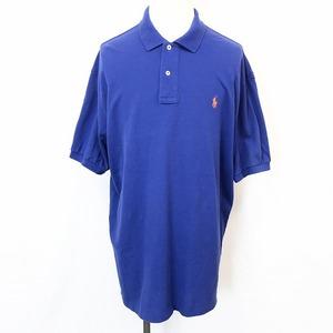Polo by Ralph Lauren ポロバイラルフローレン XL メンズ ポロシャツ 鹿の子カットソー ロゴ刺繍 ロングテール 半袖 綿100% ブルー系 青系