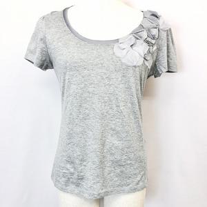 LAURA ASHLEY ローラアシュレイ M レディース 女性 半袖Tシャツ フラワーデザインカットソー トップス Uネック 無地 綿100% ヘザーグレー