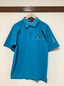 け713 ルコックゴルフ le coq sportif GOLF COLLECTION ハーフジップ 半袖ポロシャツ M ライトブルー