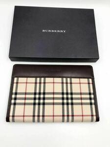 バーバリー 二つ折り財布 小銭入れ付き ダークブラウン×チェック 未使用品 パスポートカバー カードケース コインケース BURBERRY