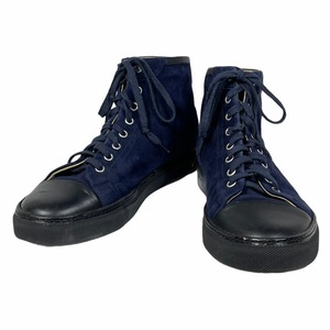 HERMES エルメス ハイカット スニーカー 靴 シューズ ロゴ スエード ネイビー ブラック [サイズ 39]