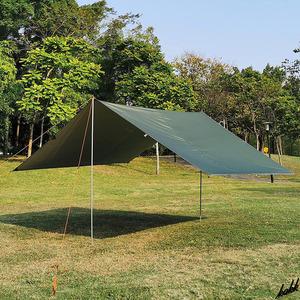 スクエアタープ ソロ ファミリー 290×400cm UVコーティング サンシェード 軽量 アウトドア ツーリング キャンプ BBQ アーミーグリーン