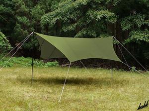 【ヘキサタープ】 オープンタープ 一式セット 収納バックあり キャンプ コンパクト 高遮光 UV対策 BBQ アウトドア 釣り キャンプ カーキ