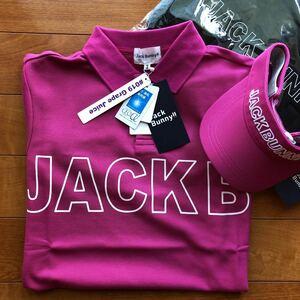 送料無料ジャックバニーbyパーリーゲイツゴルフ最新モデルメンズJACK BUNNYポロシャツ/サンバイザー(完売3)希少限定PCケース/3点セット新品