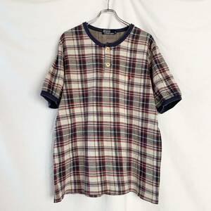 90s Polo by Ralph Lauren ポロ ラルフローレン ヘンリーネック 半袖 Tシャツ チェック ワンポイント刺繍 ロゴ L ビンテージ