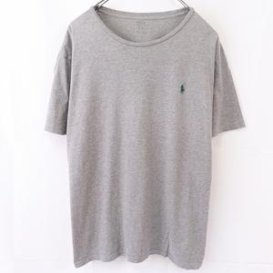 ラルフローレン Tシャツ XL グレー 緑 ワンポイント POLO RALPH LAUREN 半袖 クルーネック メンズ 古着 中古 st97