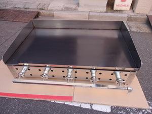 即落札 新品未使用 業務用 鉄板焼器900×550 グリラー グリドル 鉄板厚み6mm LPガス用 お好み焼き 焼きそば ステーキ等 ガス鉄板焼き