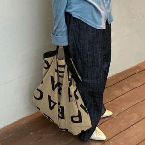 韓国ファッション!ユニセックス デザイン トートバッグ エコバッグにも最適♪カーキ