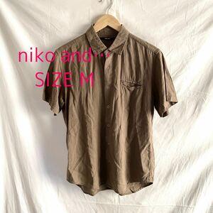 niko and… ニコアンド メンズ  半袖シャツ 麻混 カーキ サイズ M