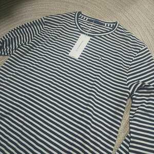 新品 定価17600 日本製 Munsingwear マンシング 長袖カットソー シャツ L ボーダー 黒 白 メンズ ゴルフ ロンT