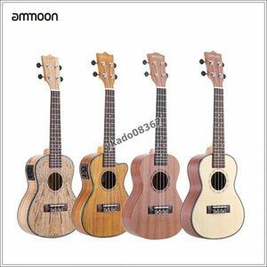 OL057:Ammoon 24 枯れ木 (まれ材料) ウクレレ led eq貝シェル鍔牛骨サドル 4弦楽器